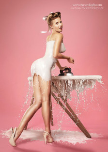 Retro Pin-Up Photos Dress Models In Layers Of Milk [Pic